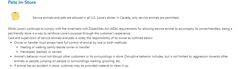 A screenshot of Lowe's pet policy that states service animals and pets are allowed in US stores.
